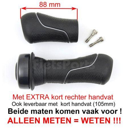 Handvatten Gazelle met Draaibel Zwart/Grijs met Extra Kort R.Handvat (Stel)