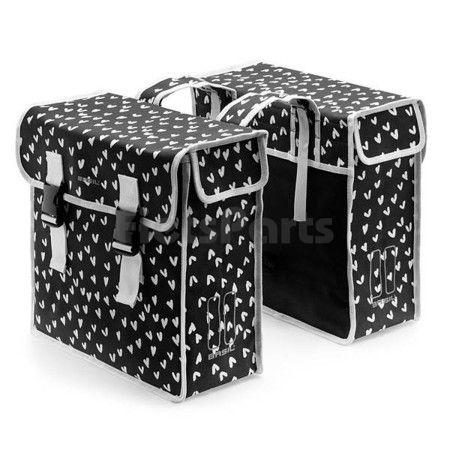 Dubbele Fietstas Basil Mara XL Double Bag Heart Dots Inh. 35 Ltr