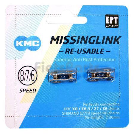 Verbindingsschakel Derailleurketting Missing Link KMC voor  5-6-7-8 Speed Ketting Pinlengte 7,3mm