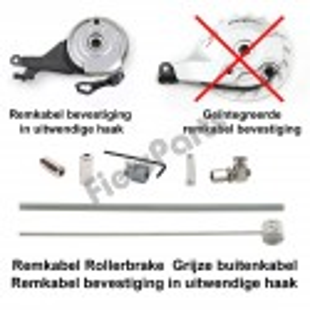 Remkabel Kit voor Shimano Rollerbrake Grijs Bevestiging in Haak