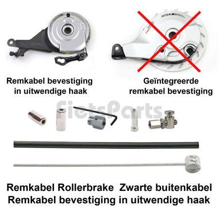 Remkabel Kit voor Shimano Rollerbrake Zwart Bevestiging in Haak