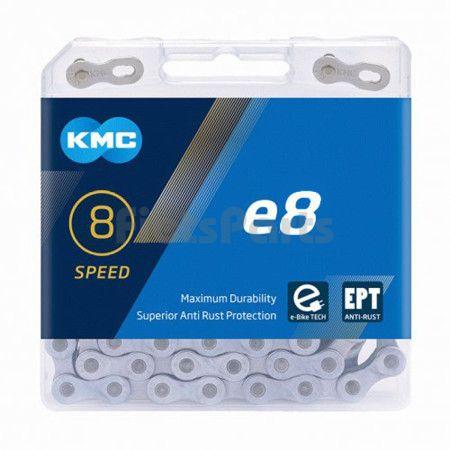 Fietsketting Derailleur  5-6-7-8 Versn. KMC E8 EPT 1/2 x 3/32 - 122 Sch.