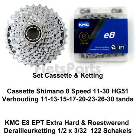 Cassette  Shimano 8 Speed 11-30 HG51 & Ketting KMC E8 Extra Hard EPT