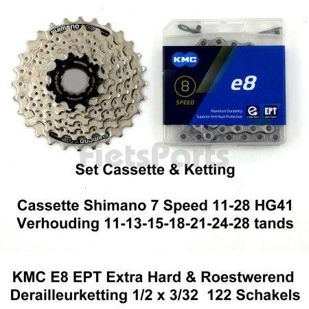 Cassette  Shimano 7 Speed 11-28 HG41 & Ketting KMC E8 Extra Hard EPT