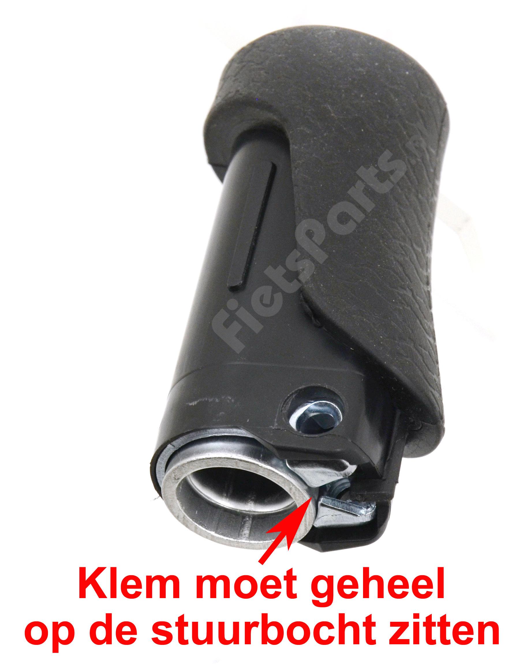 Gazelle handvaten bevestiging's klem moet geheel op het stuur zitten.