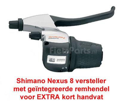 Versteller  Shimano Nexus 8 waarvoor een extra kort rechter Gazelle handvatten nodig is.