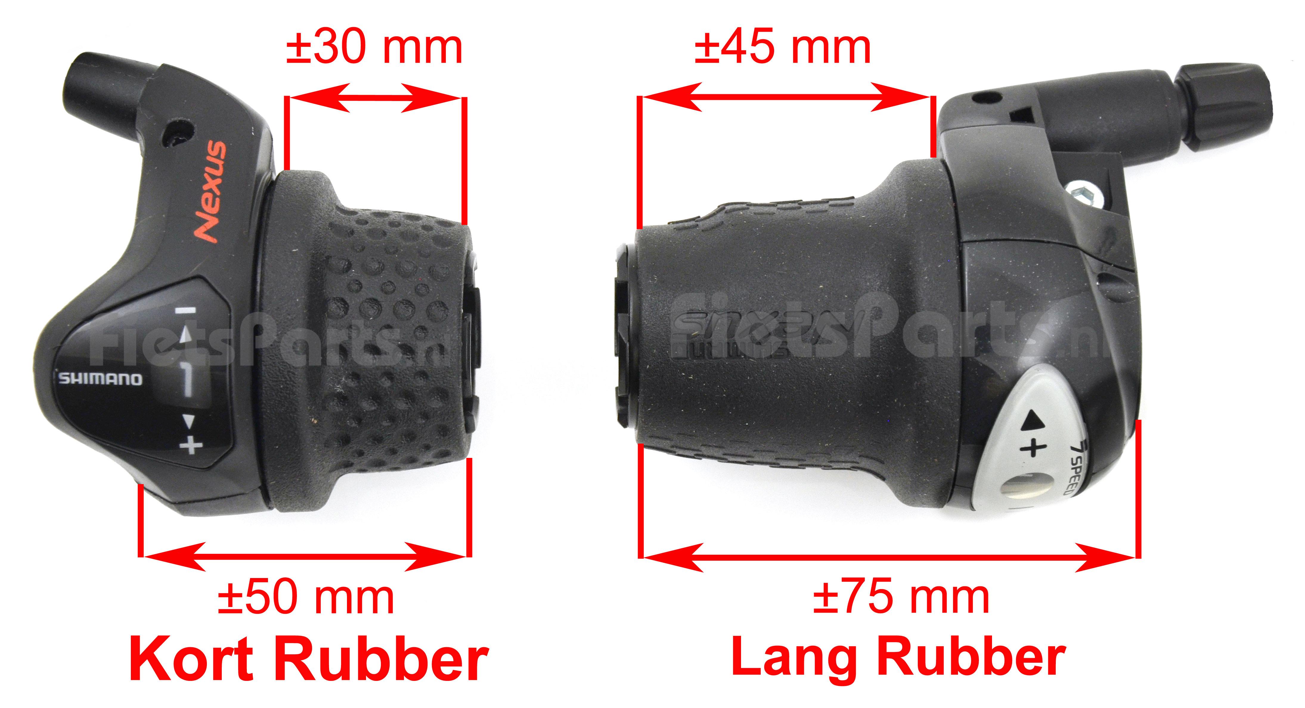 Verschillen tussen de grip-shift versteller met lang en kort rubber