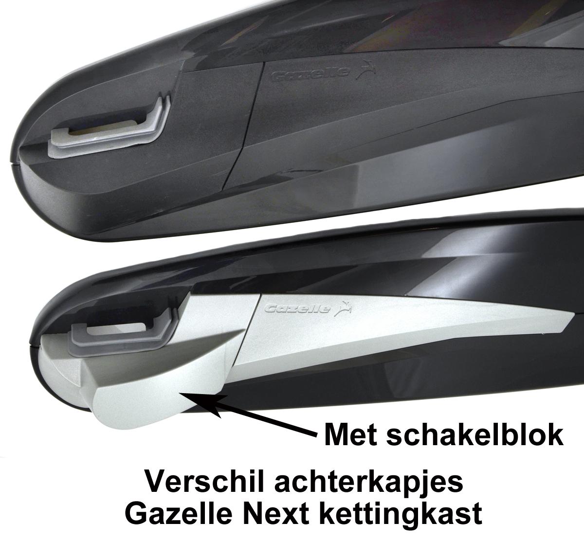 Gazelle Next Kettingkast verschil achterkapje voor schakelblok