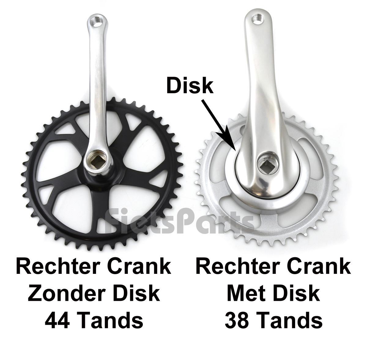 Verschil Nexus 38 tands en 44 tands crankstel fiets