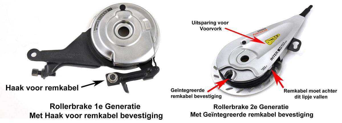 Verschil Shimano rollerbrake 1e en 2e Generatie
